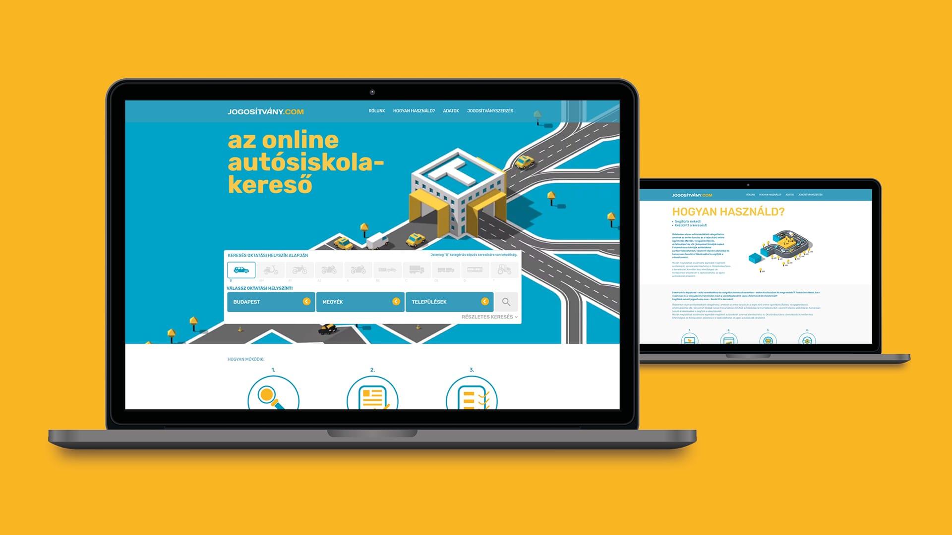 Jogosítvány.com Vizuális arculat<br> és weboldal tervezése